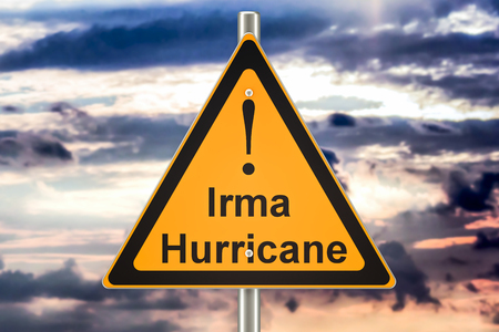 Hurricane Irma road sign concept, 3D rendering Stock Photo