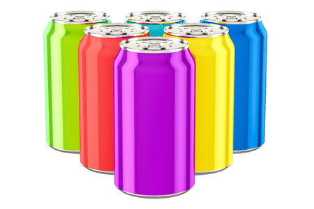 Colored drink metallic cans, 3D rendering isolated on white background
