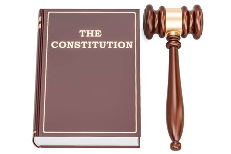 tax policy: constitution book with gavel, 3D rendering isolated on white background