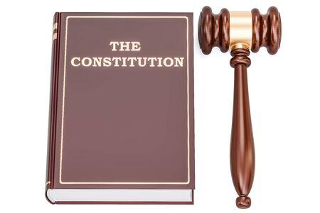 Livre constitutionnel avec marteau, rendu 3D isolé sur fond blanc Banque d'images - 85450410