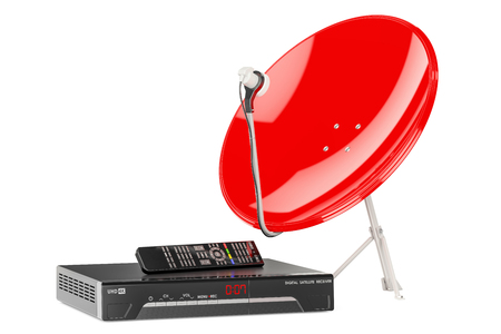 Digital satellite receiver with satellite dish. 3D rendering Stock Photo