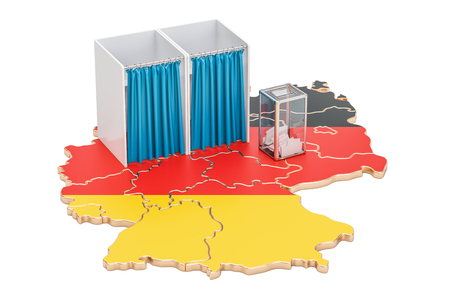 German election concept, ballot box with voting booths on map of Germany, 3D rendering isolated on white background Stock Photo
