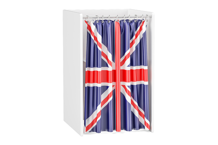 Vote in United Kingdom concept, voting booth with British flag, 3D rendering