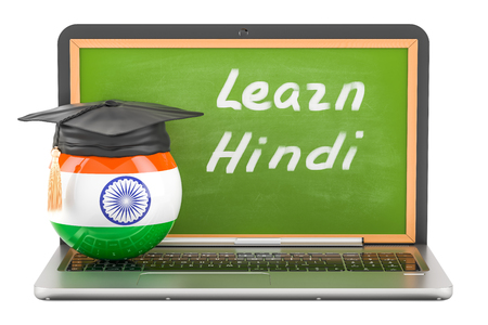 Learn Hindi concept with laptop blackboard and graduation cap, 3D rendering