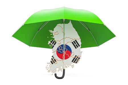 South Korea map under umbrella. Security and protect or insurance concept, 3D rendering Stock Photo