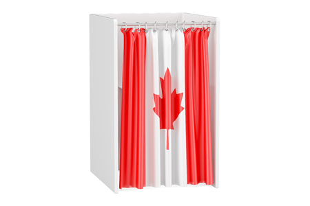 Vote in Canada concept, voting booth with Canadian flag, 3D rendering isolated on white background