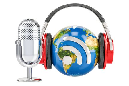 Headphones on the Earth globe and mic with RSS logo podcast, 3D rendering
