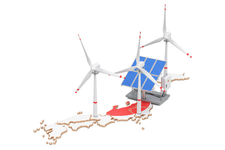 Renewable energy and sustainable development in Japan, concept. 3D rendering isolated on white background