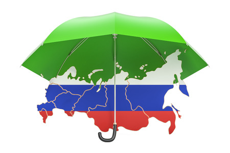 Russian map under umbrella. Security and protect or insurance concept, 3D rendering