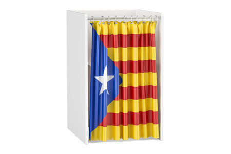 Catalonia referendum concept, voting booth with Catalonian flag. 3D rendering isolated on white background