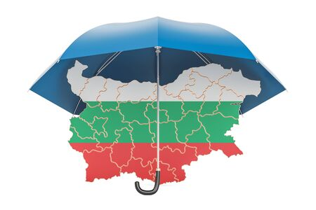 Bulgarian map under umbrella. Security and protect or insurance concept, 3D rendering