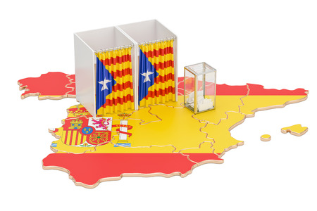 Catalonia referendum concept, voting booths with flag and ballot box on the Catalonian map. 3D rendering isolated on white background