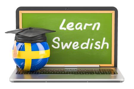 Aprenda el concepto sueco con la pizarra de la computadora portátil, el casquillo de la graduación y la bandera de Suecia, representación 3D Foto de archivo - 85631662