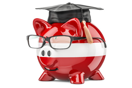 Piggy bank with Latvian flag. Savings for education in Latvia concept, 3D rendering Stock Photo