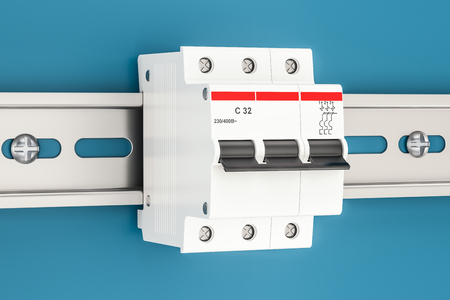 Three-pole miniature circuit breaker on the wall, 3D rendering
