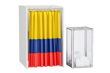 Colombian election concept, ballot box and voting booths with flag of Colombia, 3D rendering isolated on white background