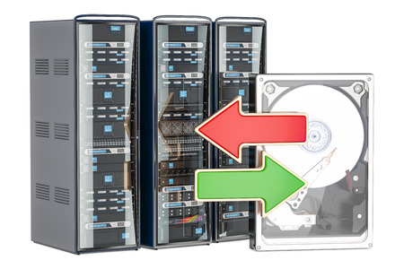 computer server racks with domain names 3d rendering stock photo