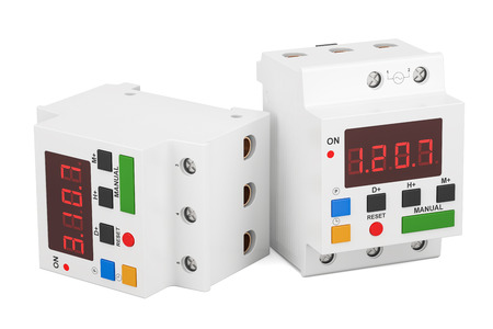 Digital timer switches, 3D rendering isolated on white background