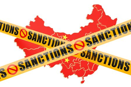 warning against a white background: Sanctions concept with map of China, 3D rendering isolated on white background