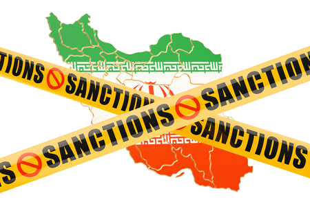warning against a white background: Sanctions concept with map of Iran, 3D rendering isolated on white background