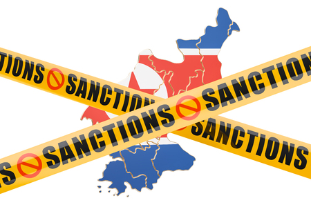 warning against a white background: Sanctions concept with map of North Korea, 3D rendering isolated on white background