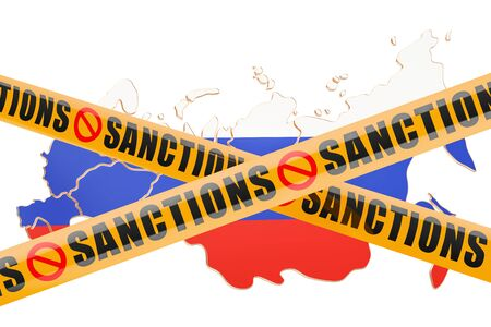 warning against a white background: Sanctions concept with map of Russia, 3D rendering isolated on white background Stock Photo