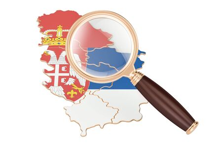 Serbia under magnifying glass, analysis concept, 3D rendering isolated on white background Stock Photo