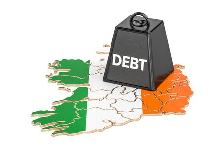 ireland flag: Irish national debt or budget deficit, financial crisis concept, 3D rendering Stock Photo
