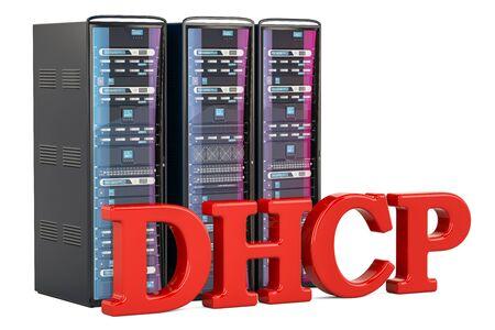 DHCP 서버 개념입니다. 흰 배경에 고립 된 3D 렌더링