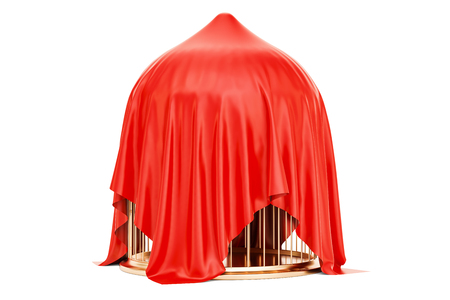 aviary: Golden bird cage covered red cloth, 3D rendering