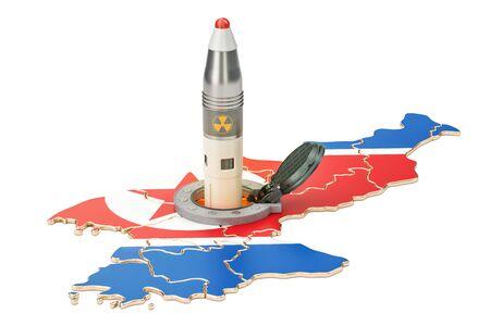 その地下のサイロ発射施設から韓国のミサイル発射 3 D レンダリング 写真素材