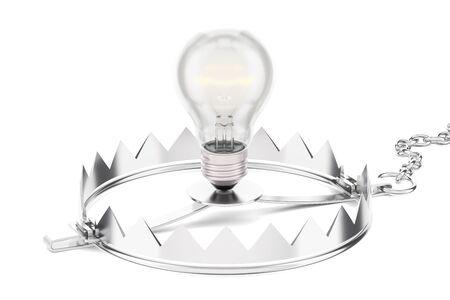 Falle mit Glühlampe, Wiedergabe 3D lokalisiert auf weißem Hintergrund Standard-Bild - 86252725