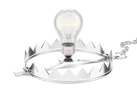 Trap with lightbulb, 3D rendering isolated on white background Stock fotó