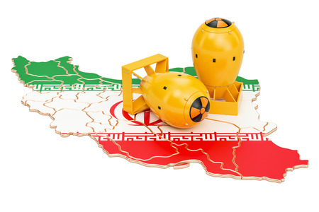 Iranian map with nuclear weapon concept, 3D rendering