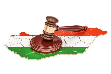 Wooden Gavel on map of Hungary, 3D rendering isolated on white background Stock Photo