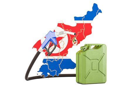 Production and trade of petrol in North Korea, concept. 3D rendering isolated on white background