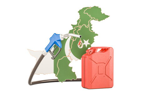Production and trade of petrol in Pakistan, concept. 3D rendering isolated on white background