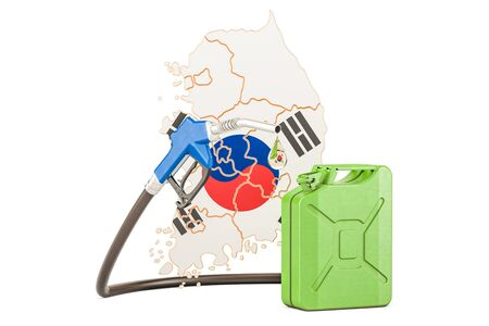 Production and trade of petrol in South Korea, concept. 3D rendering isolated on white background