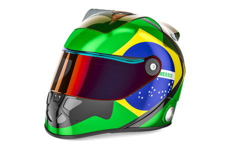 Racing helmet with flag of Brazil, 3D rendering isolated on white background