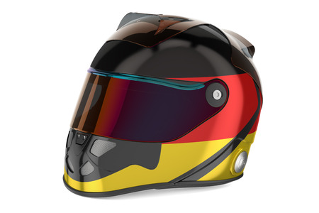 Racing helmet with flag of Germany, 3D rendering isolated on white background