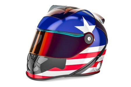 Racing helmet with flag of USA, 3D rendering isolated on white background
