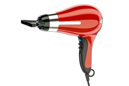 Red hair dryer with nozzle, 3D rendering isolated on white background Stock Photo