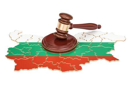 Houten Gavel op de kaart van Bulgarije, 3D-weergave geïsoleerd op een witte achtergrond