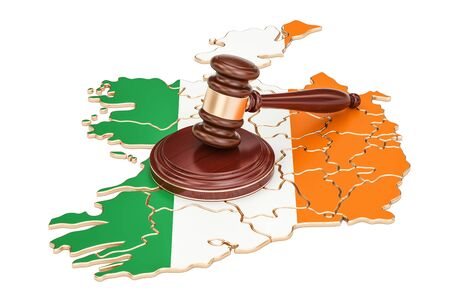 Wooden Gavel on map of Ireland, 3D rendering isolated on white background