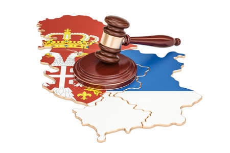 Wooden Gavel on map of Serbia, 3D rendering isolated on white background