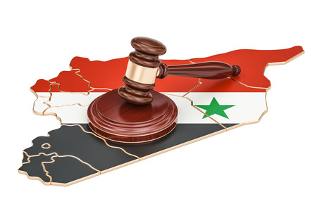 Wooden Gavel on map of Syria, 3D rendering isolated on white background