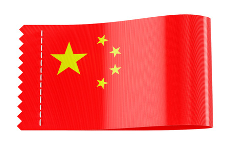 Clothing tag, label with flag of China. 3D rendering isolated on white background
