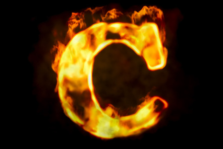 Fire letter C of burning flame light, 3D rendering isolated on black background