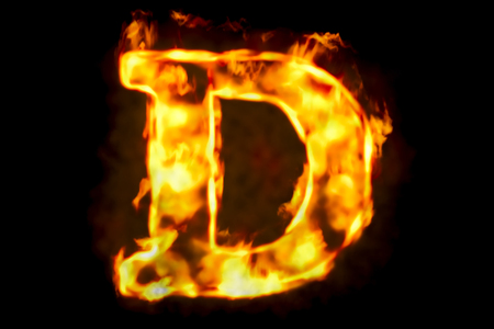 Fire letter D of burning flame light, 3D rendering isolated on black background Stock Photo