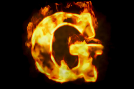 Fire letter G of burning flame light, 3D rendering isolated on black background